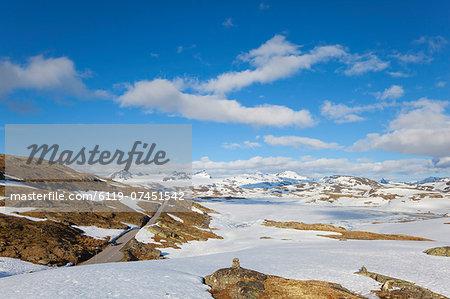 Snow covered plateau in the Jotunheimen National Park, Sogn og Fjordane, Norway, Scandinavia, Europe