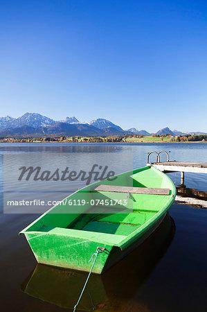 Rowing boat on Hopfensee Lake, near Fussen, Allgau, Bavaria, Germany, Europe