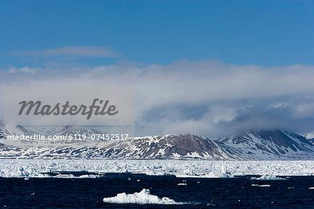 Pack ice and glacier, Spitsbergen, Svalbard, Norway, Scandinavia, Europe