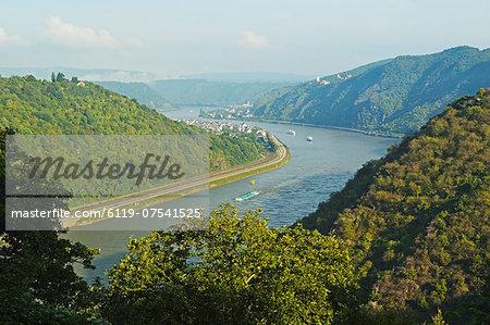 View of River Rhine near Kestert, Rhineland-Palatinate, Germany, Europe