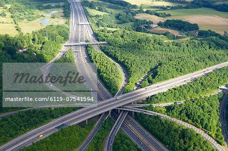 Aerial photo of M23 flyover M25, near Redhill, Surrey, England, United Kingdom, Europe