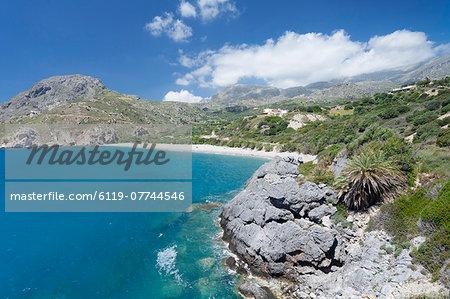 Bay and beach of Souda, Plakias, South Crete, Crete, Greek Islands, Greece, Europe