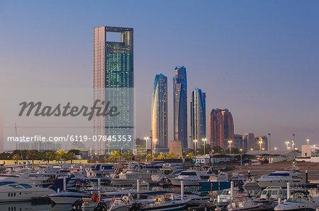 View of Marina and city skyline, Abu Dhabi, United Arab Emirates, Middle East