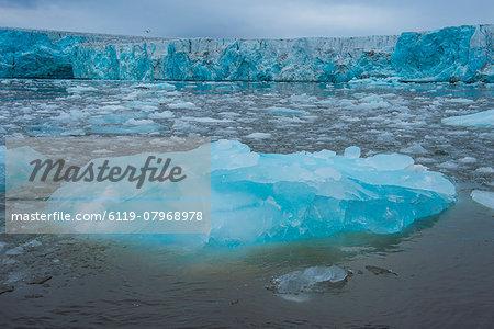 Shining blue glacier ice, Hornsund, Svalbard, Arctic, Norway, Scandinavia, Europe