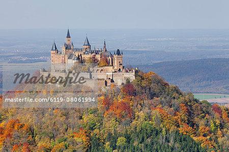 Burg Hohenzollern Castle Autumn Zollernalb Schwaebische Alb Swabian Alb Baden Wurttemberg Germany Europe Stock Photo Masterfile Premium Royalty Free Code 6119 08061994