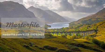 Glenfinnan Railway Viaduct, part of the West Highland Line, Glenfinnan, Loch Shiel, Highlands, Scotland, United Kingdom, Europe