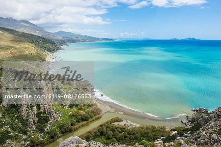 View over Preveli beach, Crete, Greek Islands, Greece, Europe