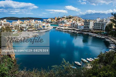 View over Lake Voulismeni, Agios Nikolaos, Crete, Greek Islands, Greece, Europe