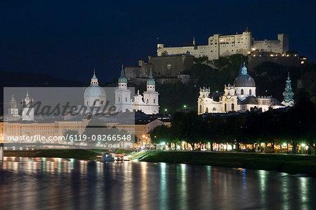 Cityscape with River Salzach at night, Saltzburg, Austria