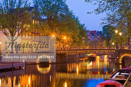 Brouwersgracht at dusk, Amsterdam, Netherlands, Europe