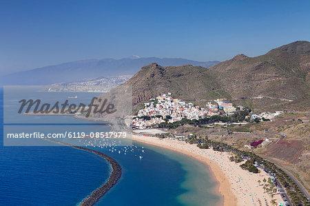 Playa de las Teresitas Beach, San Andres with a view to Pico del Teide, Tenerife, Canary Islands, Spain, Atlantic, Europe