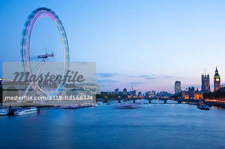 London Eye and Houses of Parliament, London, England, United Kingdom, Europe