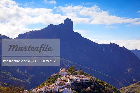 Tejeda with Roque Nublo in the background, Gran Canaria, Canary Islands, Spain, Atlantic Ocean, Europe