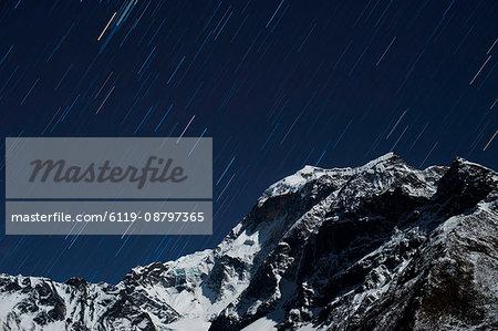 Star trails in the Manaslu region, Nepal, Himalayas, Asia
