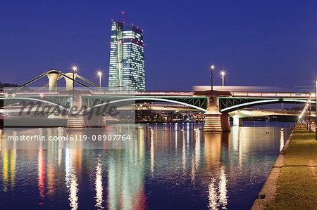 View over Main River to Ignatz Bubis Bridge and European Central Bank, Frankfurt, Hesse, Germany, Europe