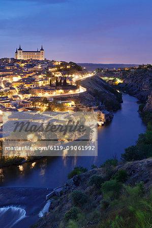 View over Tajo River at Alcazar, UNESCO World Heritage Site, Toledo, Castilla-La Mancha, Spain, Europe