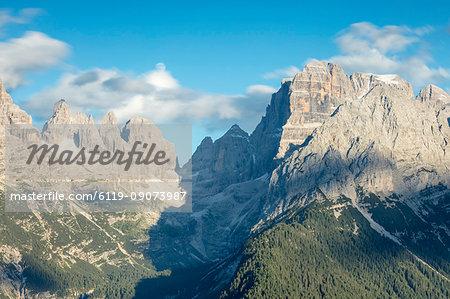 View of the high rocky peaks from Malga Ritorto, Madonna di Campiglio, Brenta Dolomites, Trentino-Alto Adige, Italy, Europe