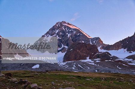 Mount Gran Zebru at sunrise, Valfurva, Lombardy, Italy, Europe