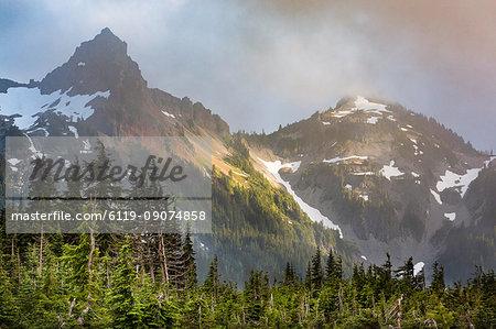 Dramatic light on the rugged Tatoosh Range near Mount Rainier, part of the Cascade Range, Pacific Northwest region, Washington State, United States of America, North America