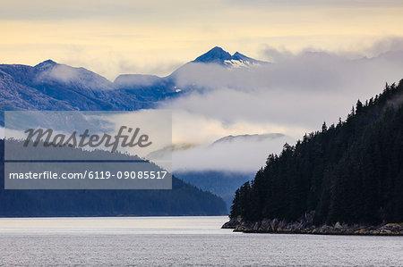 Mist over the Fairweather Range, Icy Strait, between Chichagof Island and Glacier Bay National Park, UNESCO World Heritage Site, Inside Passage, Alaska, United States of America, North America