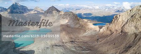 Panoramic of Lej Lagrev seen from drone, Silvaplana, Engadine, Canton of Graubunden, Switzerland, Europe