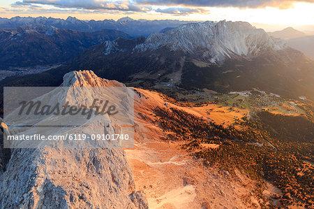 Aerial view of Roda Di Vael, Catinaccio Group (Rosengarten) and Latemar, Dolomites, South Tyrol, Italy, Europe