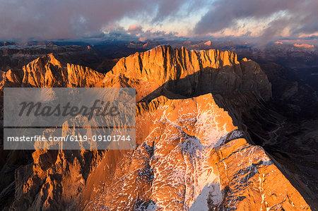 Aerial view of Marmolada, Gran Vernel and Cima Ombretta, Dolomites, Trentino-Alto Adige, Italy, Europe