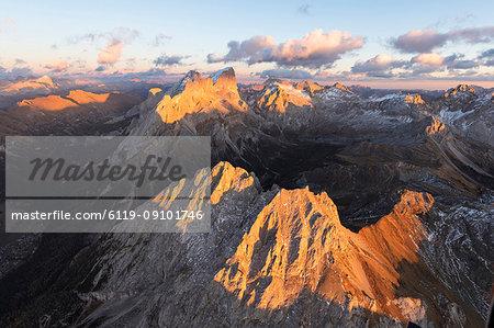 Aerial view of Colac, Gran Vernel and Marmolada, Dolomites, Trentino-Alto Adige, Italy, Europe
