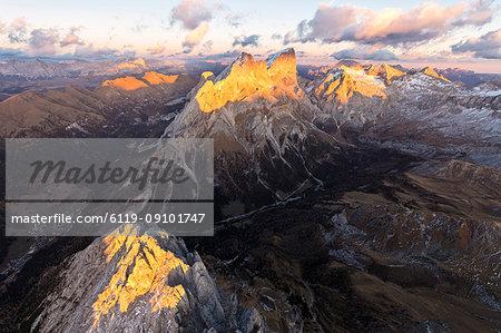 Aerial view of Colac, Gran Vernel, Marmolada and Val Contrin, Dolomites, Trentino-Alto Adige, Italy, Europe