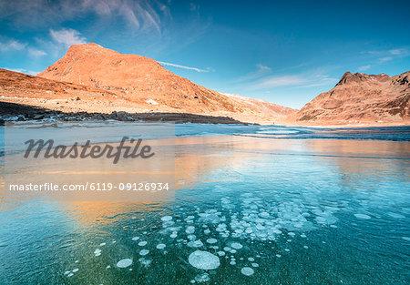 Ice bubbles, Montespluga, Chiavenna Valley, Sondrio province, Valtellina, Lombardy, Italy, Europe