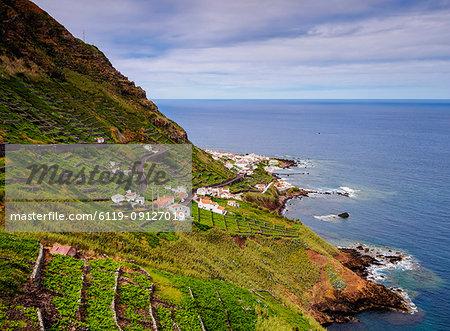 Vineyards of Maia, elevated view, Santa Maria Island, Azores, Portugal, Atlantic, Europe