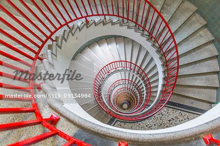 View of spiral staircase in The Skyscraper, Ljubljana, Slovenia, Europe