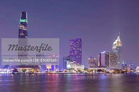 The view of Ho Chi Minh City (Saigon) centre and the Saigon River, Vietnam, Indochina, Southeast Asia, Asia