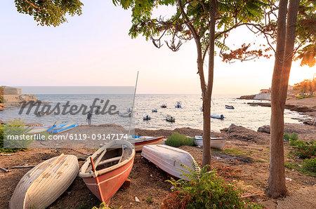 Harbor at sunset, Torretta Granitola, Campobello di Mazara, province of Trapani, Sicily, Italy, Mediterranean, Europe