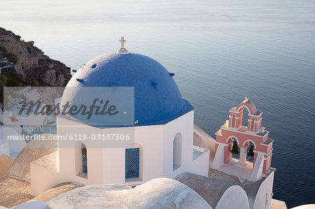 Blue-domed church in Santorini, Cyclades, Greek Islands, Greece, Europe