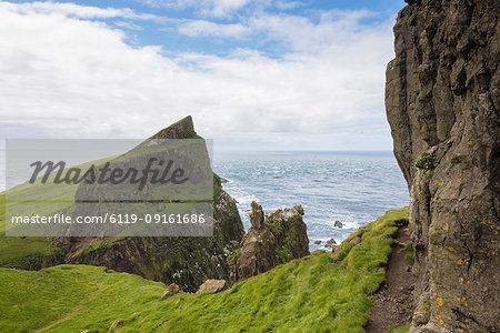Cliffs overlooking the ocean, Mykines Island, Faroe Islands, Denmark, Europe