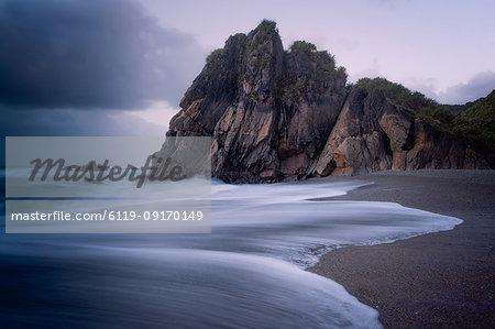 Coastline, Punakaiki at sunset, Paparoa National Park, West Coast, South Island, New Zealand, Pacific