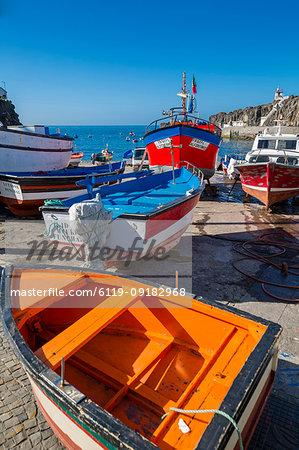 Colourful fishing boats in harbour in Camara de Lobos, Madeira, Portugal, Atlantic, Europe