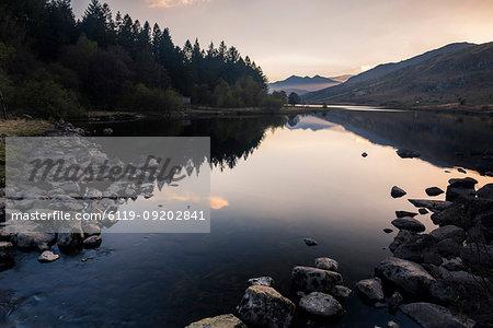 Llynnau Mymbyr Lake at sunset, Capel Curig, Snowdonia National Park, North Wales, United Kingdom, Europe