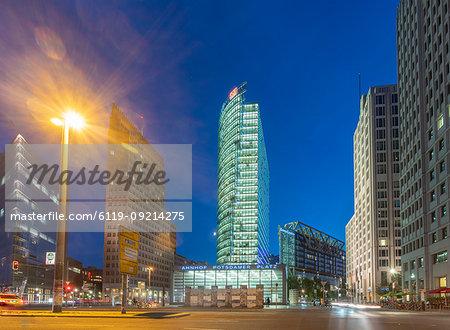 Potsdamer Square (Potsdamer Platz) at night, Berlin, Germany, Europe