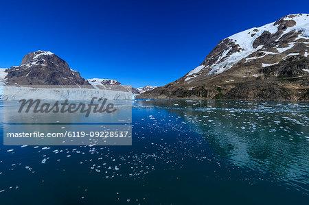 Thryms (Thrym) Glacier, large, retreating, tidewater glacier, Skjoldungen Fjord, glorious weather, remote South East Greenland, Denmark, Polar Regions