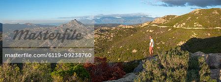 Wild mountainous coastline in north Corsica near Saint-Florent looking towards Cap Corse, Corsica, France, Mediterranean, Europe