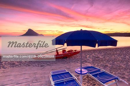 Amazing sunrise on the beach of Porto Taverna with the Tavolara Island in the background, Loiri Porto San Paolo, Olbia Tempio province, Sardinia, Italy, Mediterranean, Europe
