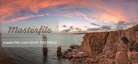 Panoramic view of the sunset at Colonne di Carloforte, San Pietro Island, Sud Sardegna province, Sardinia, Italy, Mediterranean, Europe