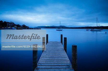 Jetty at dusk, Lake Windermere, Lake District National Park, UNESCO World Heritage Site, Cumbria, England, United Kingdom, Europe