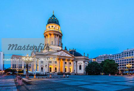 Deutscher Dom at sunset in Gendarmenmarkt square, Berlin, Germany, Europe