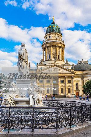 Statue in front of Deutscher Dom on Gendarmenmarkt square, Berlin, Germany