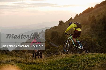 two mountain bikers on the way, Kolovrat, Istria, Slovenia