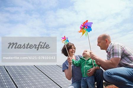 Alternative energy young family wind solar power
