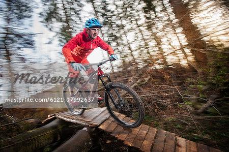 Mountain biker crossing wooden bridge in a forest, Bavaria, Germany